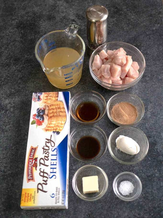 Ingredients for Chicken Vol au Vents