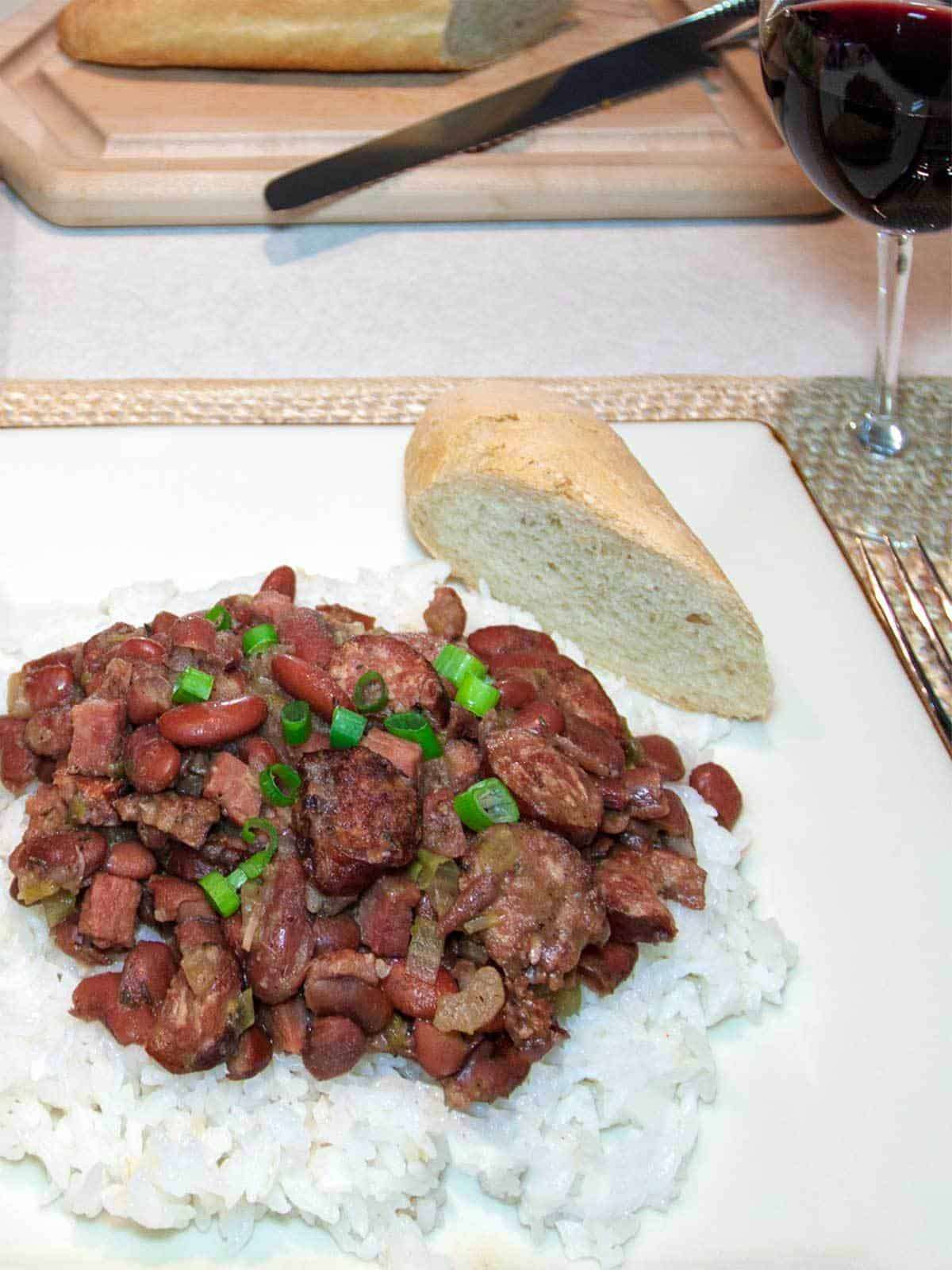 Dinner with Red Beans and Rice