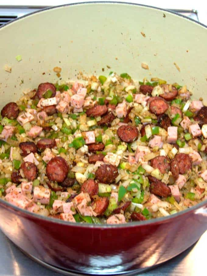 Sausage and Ham added to Vegetables for Red Beans and Rice