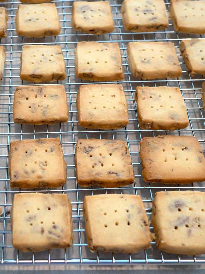 Cooling the Pecan Shortbread on Wire Rack