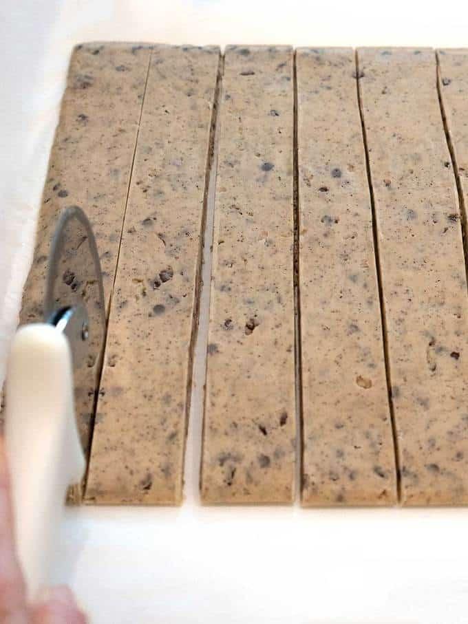 Cutting Espresso Chocolate Shortbread Dough