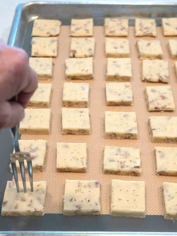 Docking the Pecan Shortbread before Baking