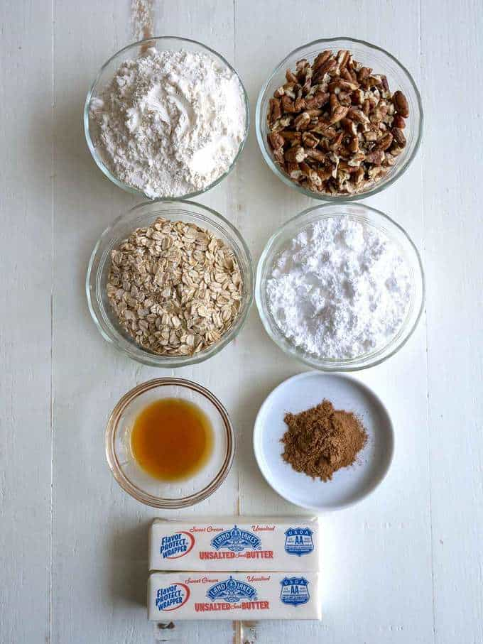 Ingredients for Oatmeal Spice Shortbread
