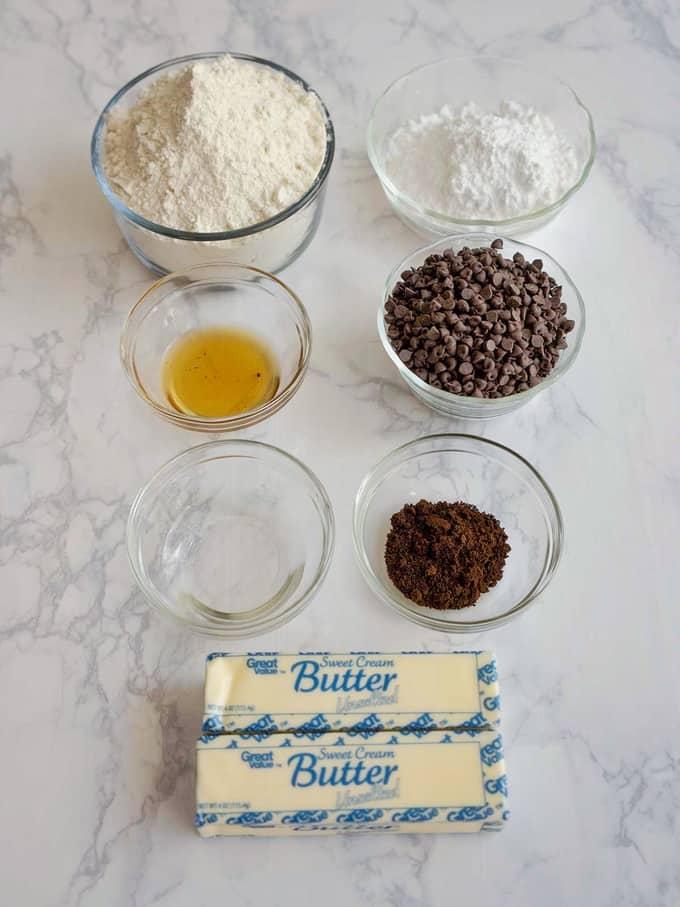 Ingredients for Espresso Chocolate Shortbread