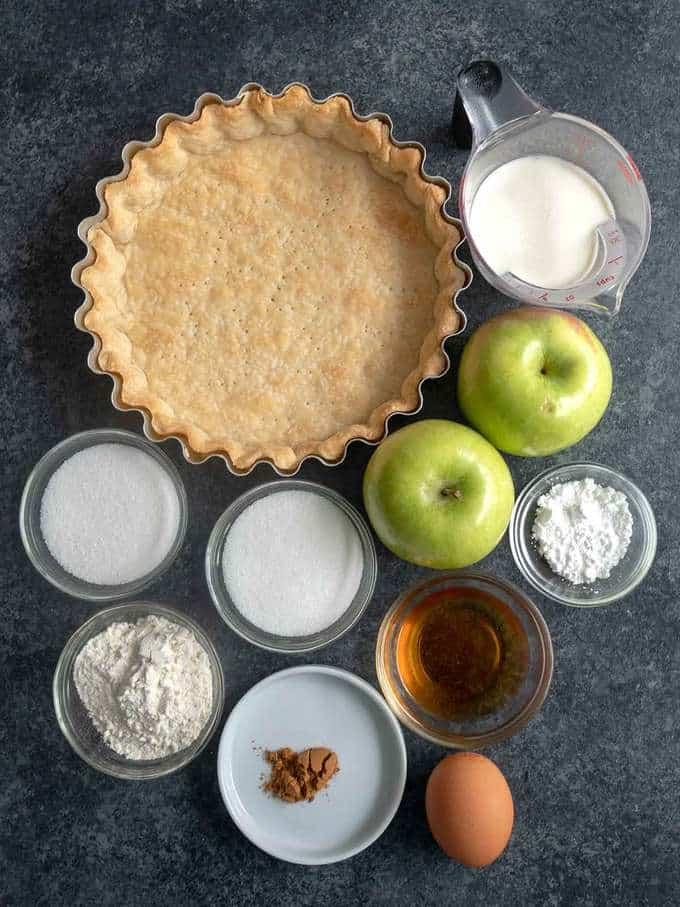 Ingredients for Julia Child's Tarte Normande aux Pommes