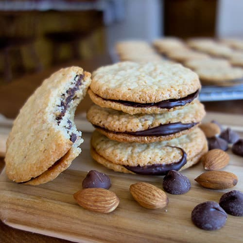 Almond and Chocolate Sandwich Cookies - The Pudge Factor