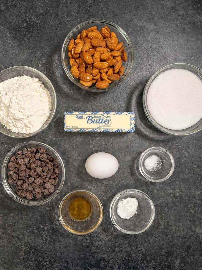 Ingredients for Almond Chocolate Sandwich Cookies