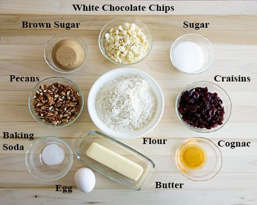 Ingredients for White Chocolate Cranberry Cookies
