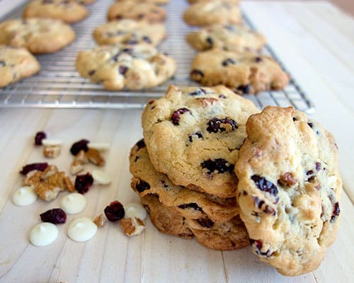 White Chocolate Cranberry cookies ready to eat
