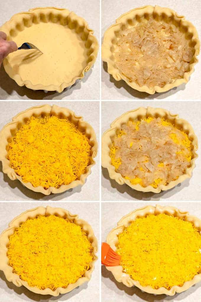 Filling the Pie for the Cheese and Onion Pie