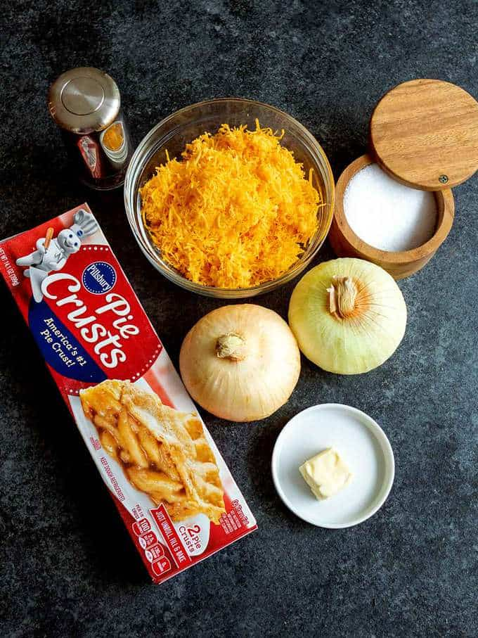 Ingredients for Cheese and Onion Pie