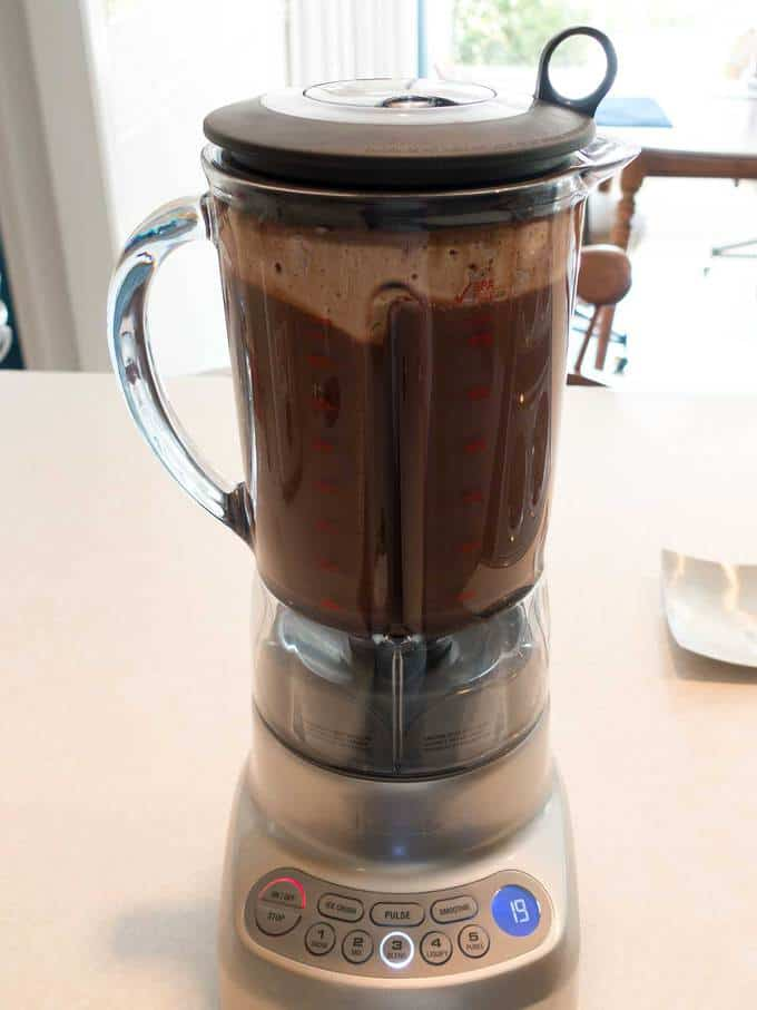 Chocolate mixture in blender