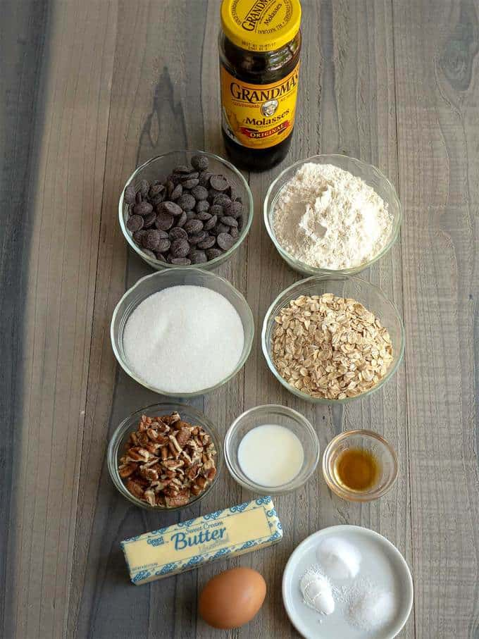 Ingredients for Chocolate Oatmeal Pecan Cookies