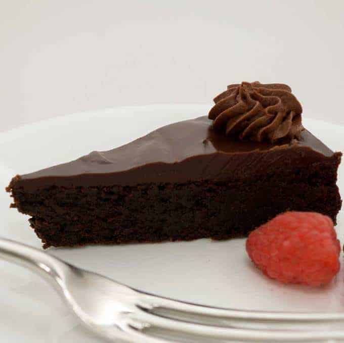 Amazingly dense, rich and decadent, every bite is packed with intense bittersweet chocolate flavor.