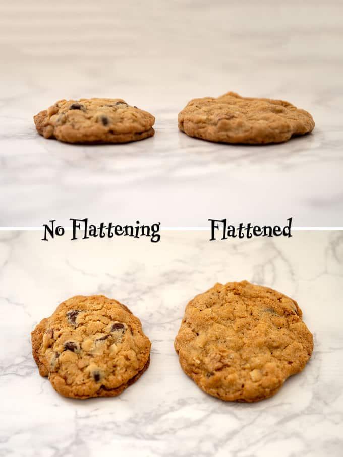 Flattening versus not flattening cookie dough