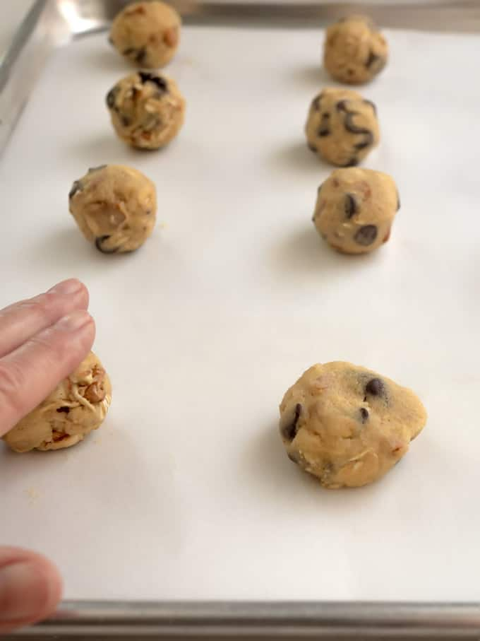 Flattening Cookie Dough with Hand