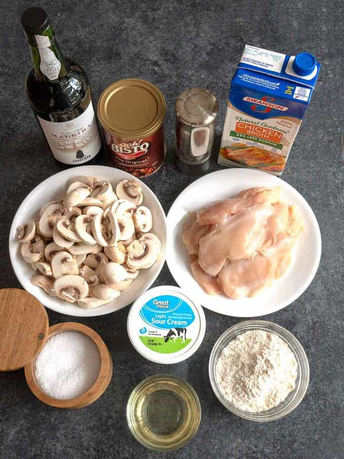 Ingredients for Chicken Scallopini with Mushrooms