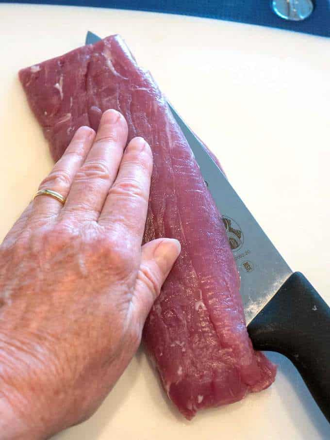 Cutting Pork Tenderloin for Pork Milanese