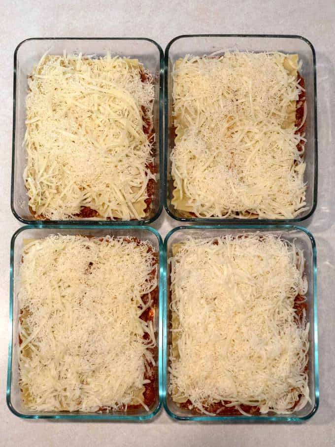 Four 8 x 6-inch Finished Lasagnas