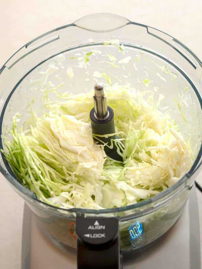 Shedded Cabbage for Sauerkraut in Food Processor
