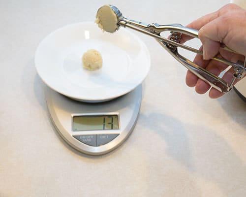 Weighing the dough