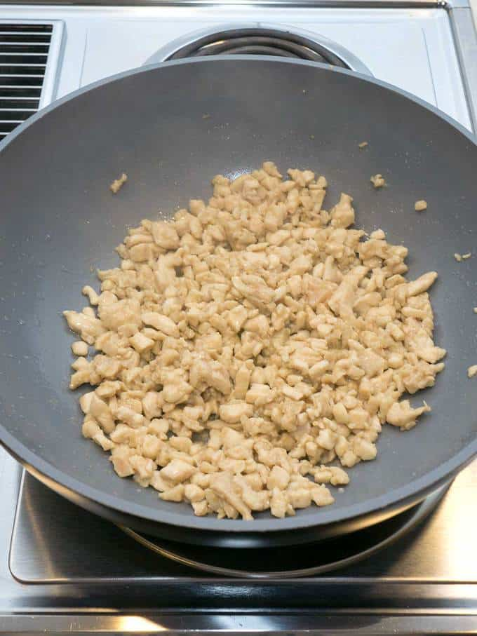 Cooking the Chicken for the Egg Roll Filling