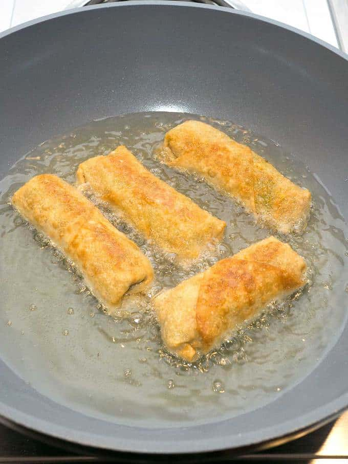 Cooking the Egg Rolls