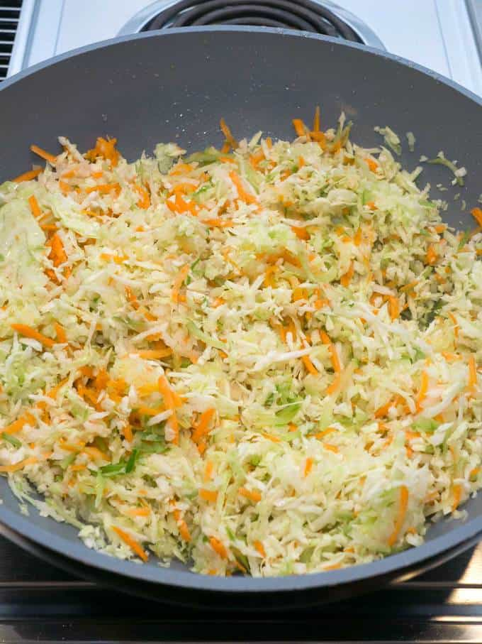 Cooking the Vegetables for the Egg Roll Filling