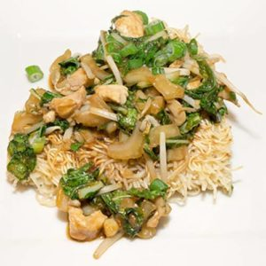 Stir-Fried Chicken and Bok Choy with Crispy Noodle Cake