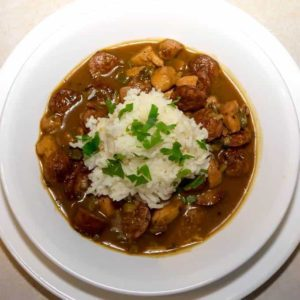 Low Fuss Chicken and Smoked Sausage Gumbo