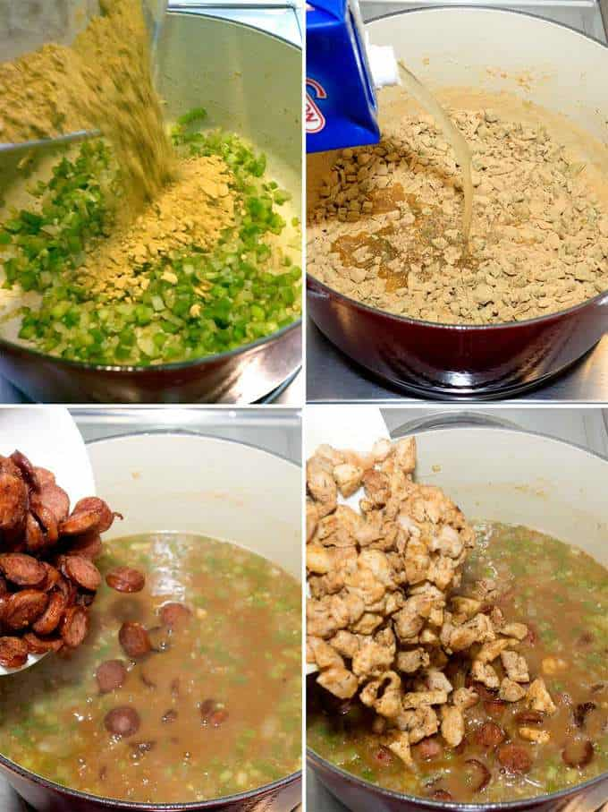 Combining all Ingredients to Make Gumbo