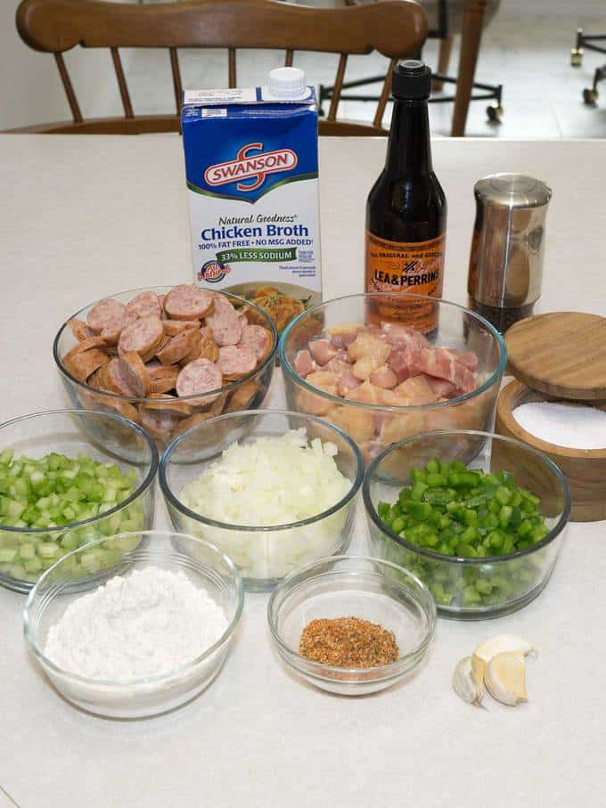 Ingredients for Low Fuss Gumbo