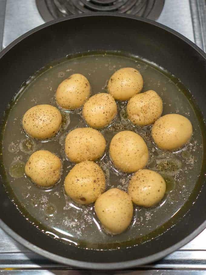 Potatoes in Pan for Pommes Fondantes