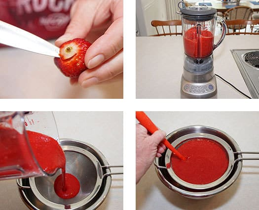 Puree the strawberries
