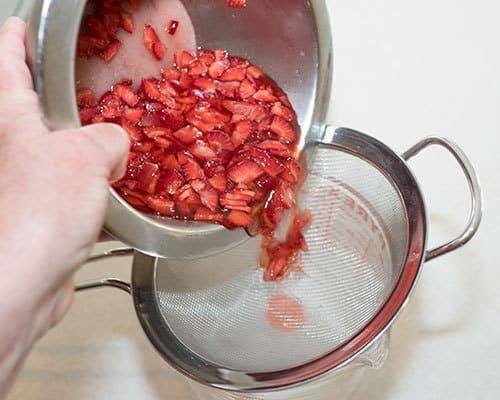 Straining strawberries