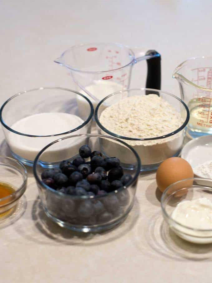 Ingredients for Blueberry Mini Muffins