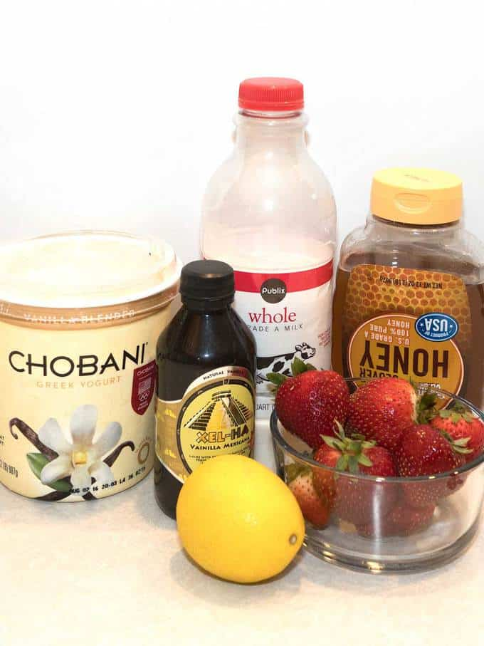 Ingredients for Strawberries and Cream Popsicles