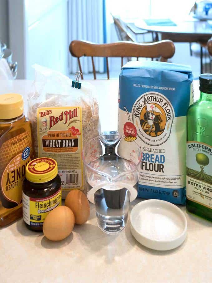 Ingredients for Chris' Bran Bread