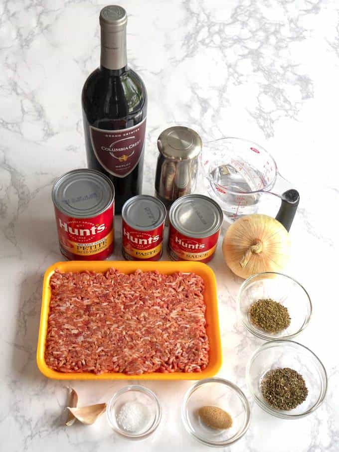 Ingredients for Bolognese sauce