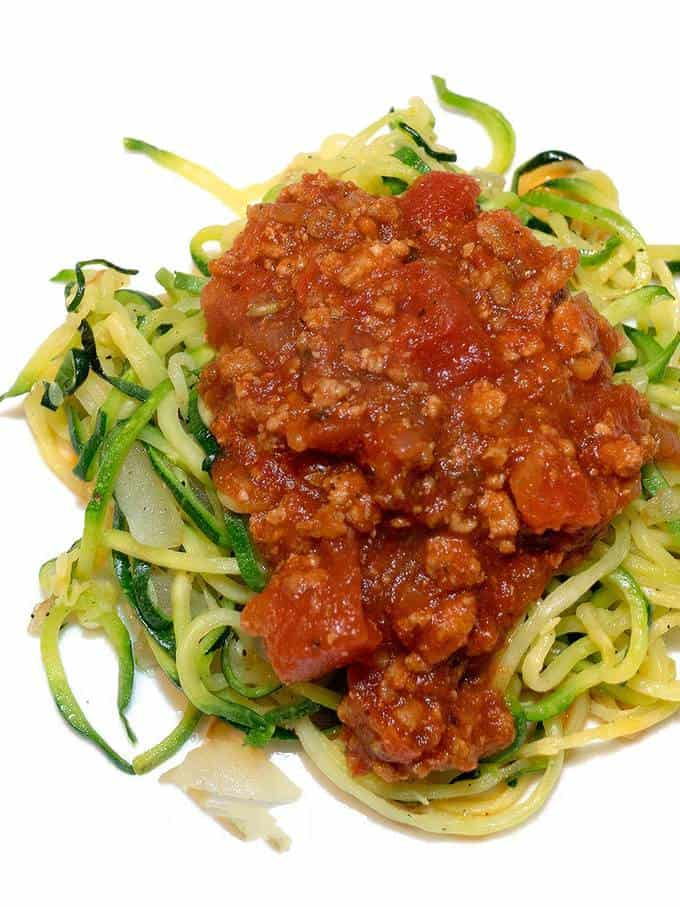 Zoodles topped with Bolognese Sauce