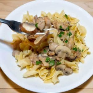 Noodles topped with a blend of tender chicken and cremini mushrooms in a delicious creamy sauce.