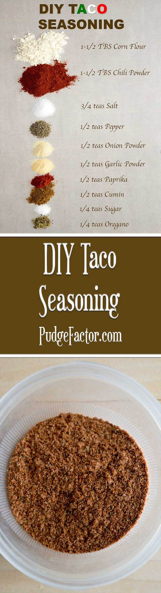 DIY Taco Seasoning is the perfect blend of spices. It's ready in minutes, contains no preservatives, and is lower in sodium than the packets you buy in the store.