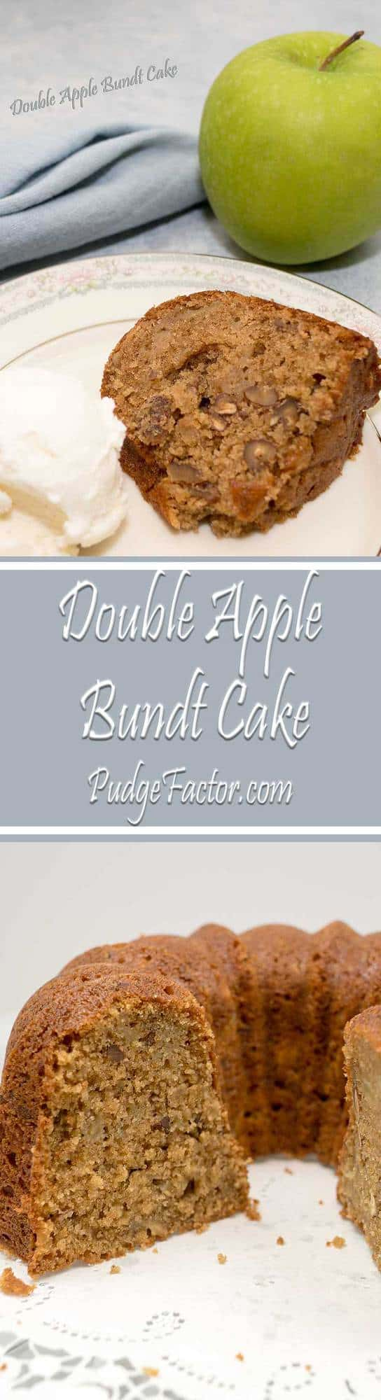 This amazing Double Apple Bundt Cake is super moist, with just the right amount of spices. It's filled with fresh apples, apple butter and toasted pecans, and baked to perfection.