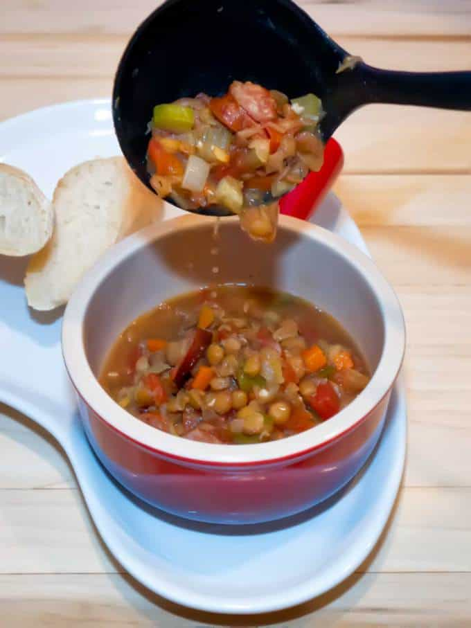 Lentil and Sausage Soup is both hearty and delicious. This one pot meal is a snap to make, freezes beautifully, and is packed full of vegetables and protein