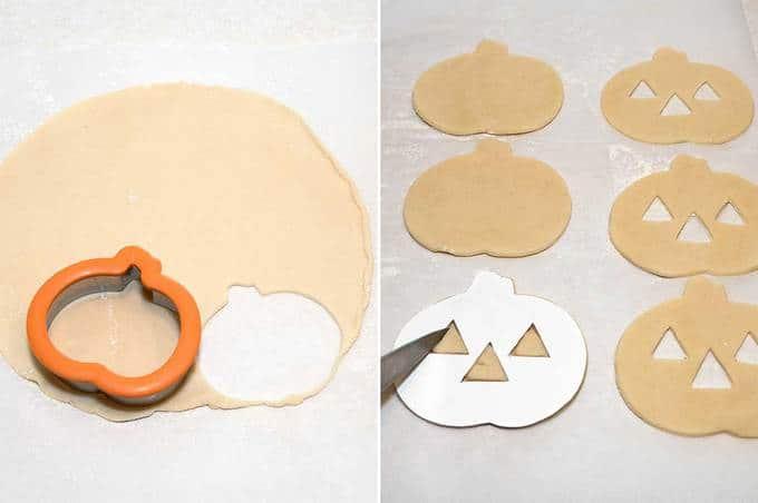 making the pumpkin cutouts of the pie dough