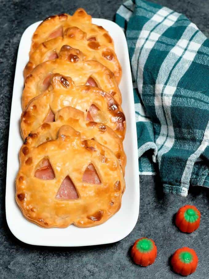 Jack O'Lantern Ham and Swiss Hand Pie