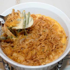 Thanksgiving green bean casserole without the mandatory cream of mushroom soup.