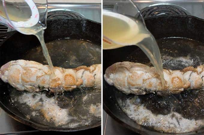 Adding liquid to pan with the Turkey Breast Roulade