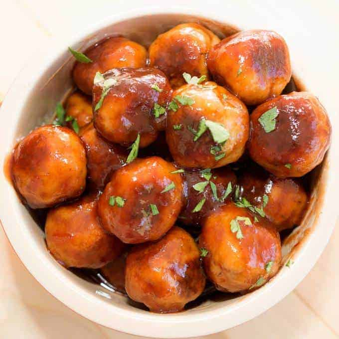 Savory Glazed Turkey Meatballs - tender and flavorful and a sweet savory sauce. They are sure to be a winner at your next holiday gathering.