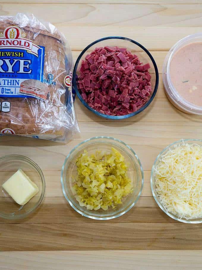 Ingredients for Mini Reuben Croustades
